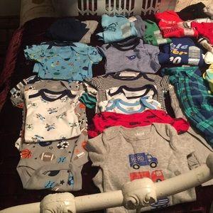 Baby boy onesies,bibs,sets and long sleeve shirts